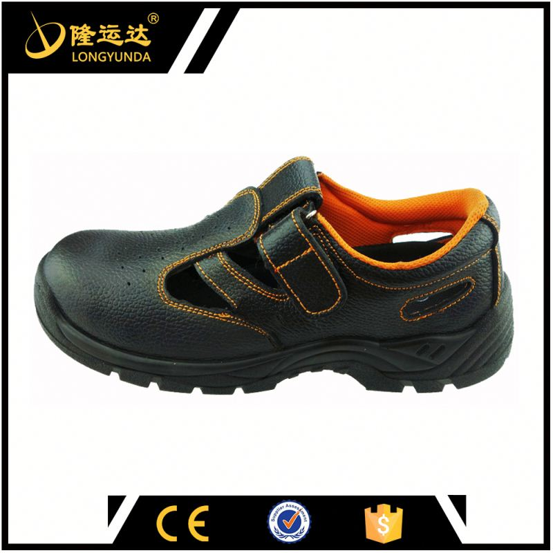 summer work shoe black man's leather upper safety shoe for worker
