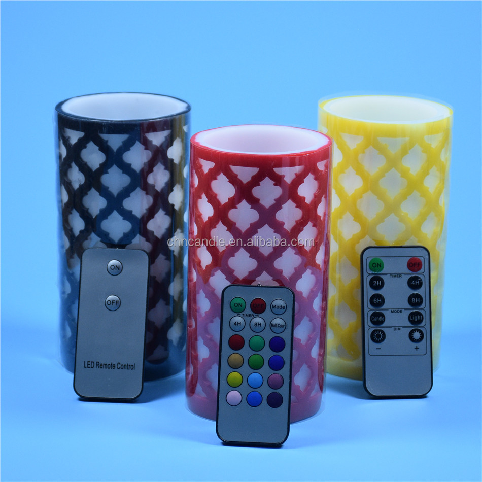 Customed Luxury Brand flameless rgb led colorful candle set