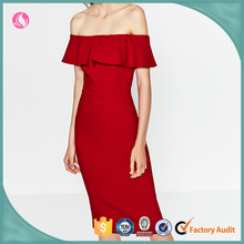 Fancy fat women plus size designer red sexy off-shoulder one piece party dress evening clothing