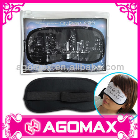 Paper card in PVC Zipper bag microfiber eyeshade sleep