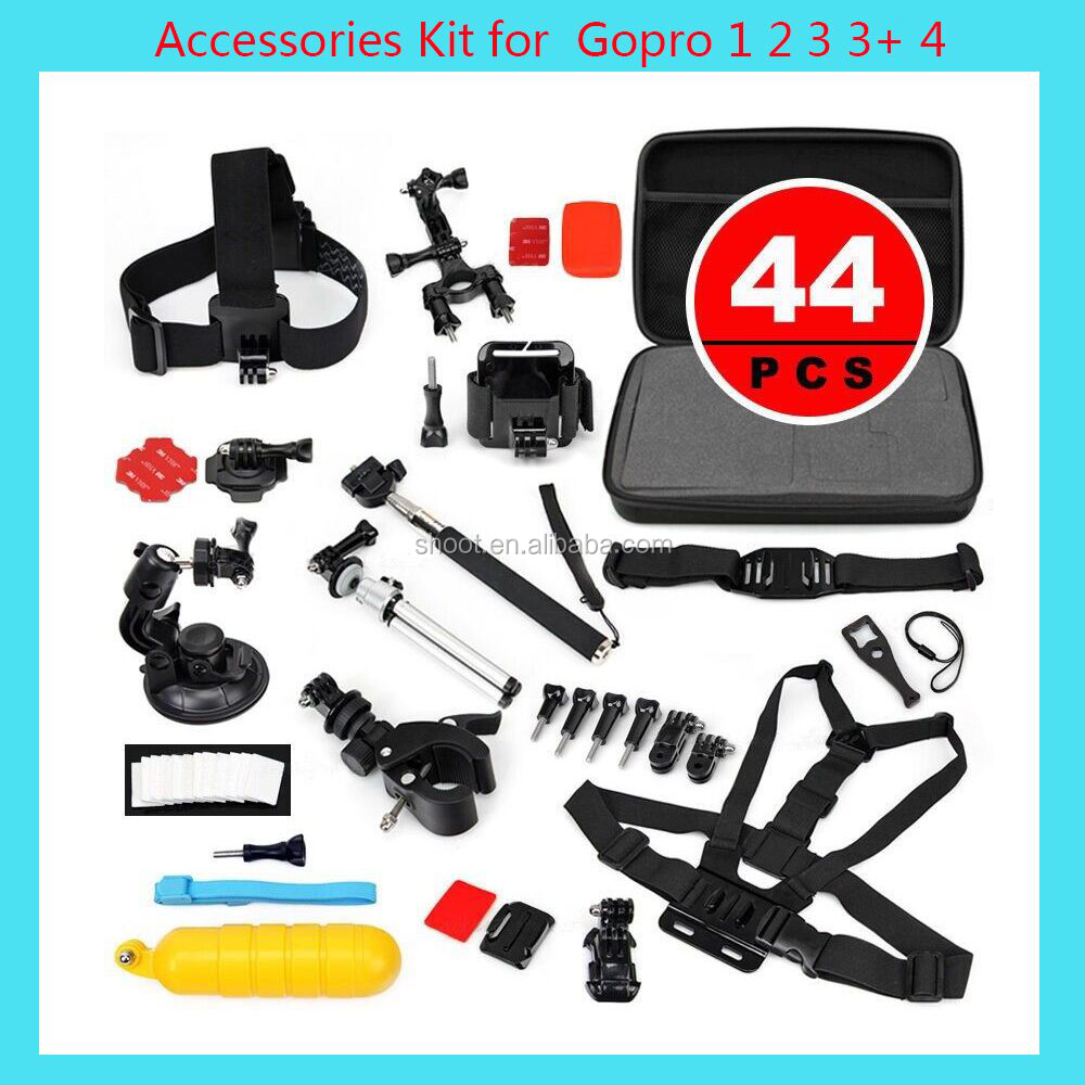 SHOOT Go Pro Camera Accessories 44-in-1 Gopro Bundle Accessories Kit Set for GoPro 5 4 3+/3 2 1 Sj4000 Xiaomi Yi Camera