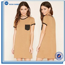 OEM Summer Sexy Women Dress Casual Pocket singer T-Shirt Dress