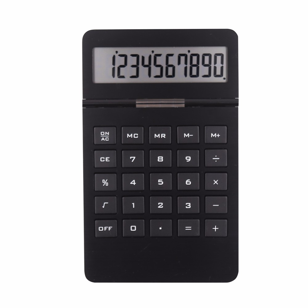 10 digits desktop aluminum surface destop calculator with two way power