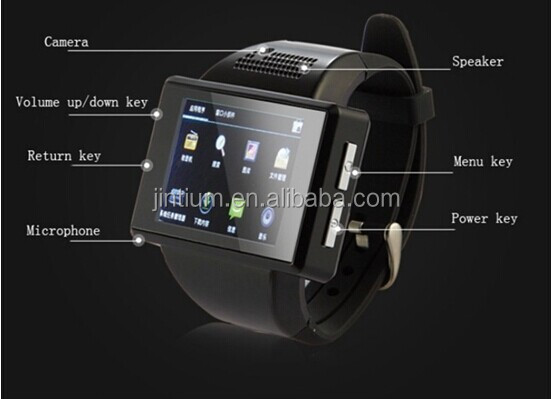 New 2014 An1 Android smart watch phone Quadband MTK6515 Android 4.1 Dual core watch Smart phone