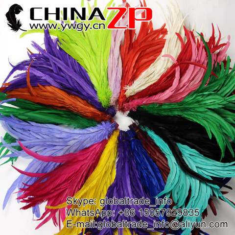 Factory Wholesale 100% Exporting Selected Prime Quality Dyed Rooster Tail Feathers
