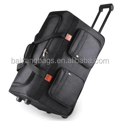 OXFORD MATERIAL BLACK COLOR CUSTOMIZED SIZE ROLLING TRAVEL TROLLEY LUGGAGE BAG