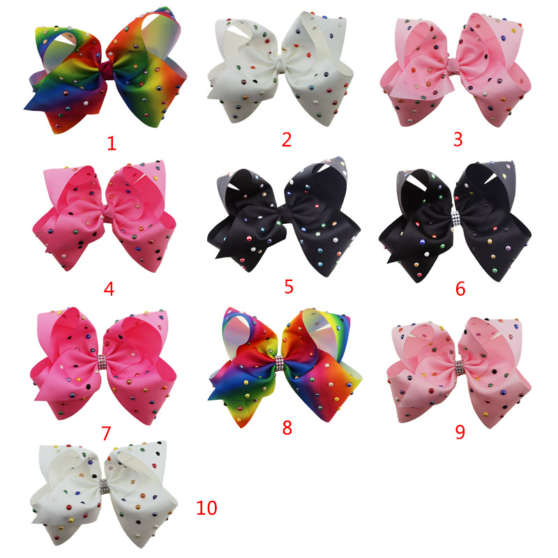Fashion new design jojo bows 8 inch Large ribbon color pearl hair bows girls hair accessories