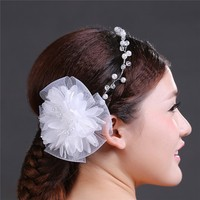 2016 Popular Handmade Bridal Flower Hair Accessories Pearl And Fabric Head Jewelry