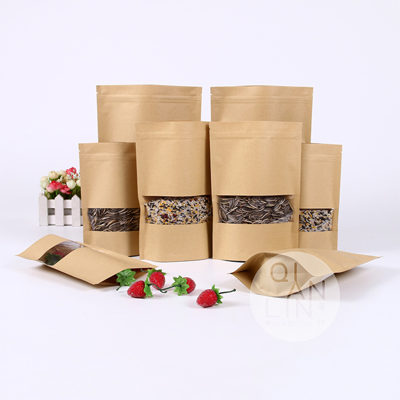 Zipper kraft Paper bag with Clear Opp Window