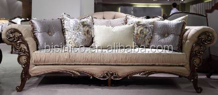 European New Design Solid Wood Carving Sofa Set In Living Room/ French Royal Elegant Living Room Furniture Fabric Sofa