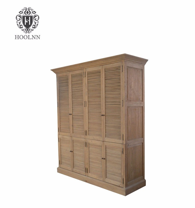 HL716 French Shutter living room furniture partition Double Wardrobes Armoire Wooden Almirah Cabinet