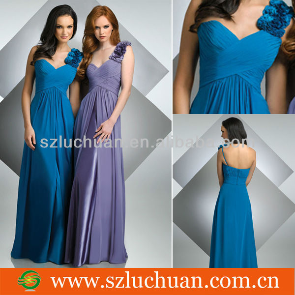 Latest Sweetheart Chiffon Flower Straps Bridesmaid Dresses
