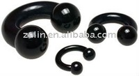 black double flared PMMA flesh tubes tunnel body jewelry piercing