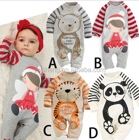 2016 fashion baby unisex clothes newborn 100% cotton baby romper long sleeve infants pyjamas,4 design for your choose