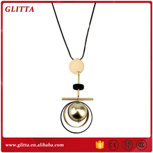 YX104 Unique design women fashionable jewelry necklace double ring gold pearl pendant necklace