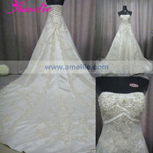 AC1053 Beaded Lace Appliqued Wedding Dresses With Long Trains