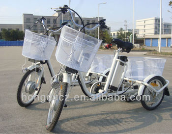 Three wheel electric aluminium cargo tricycle bicycle for old people