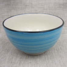 Colorful HP ceramic rice bowl with archaided edge, simple pattern outer, white inner ceramic bowl