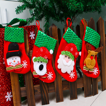 New Year Christmas Stockings Socks Plaid Santa Claus Candy Gift Bag Xmas Tree Hanging Ornament Decoration