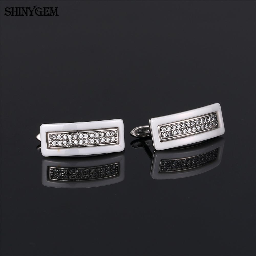 White and black ceramic mirco pave zircon piercing earring jewelry titanium steel fashion hoop earrings for women girl
