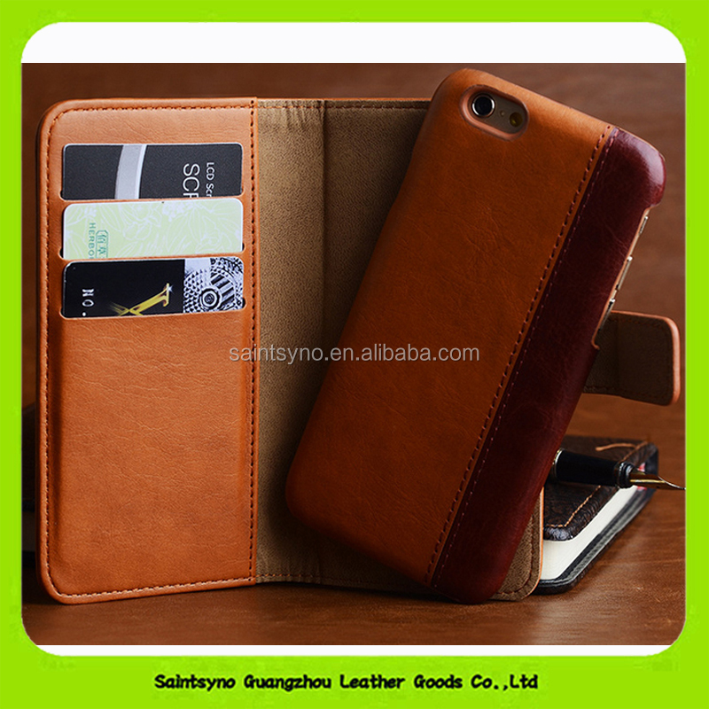 15110 Custom Luxury Waterproof Leather Mobile Phone Cell Phone Flip Cover Case with bus card slots