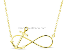 Fashion Goldplated Infinity Anchor Necklace 18-inch Stainless Steel Golden Pendant for Women, Lady