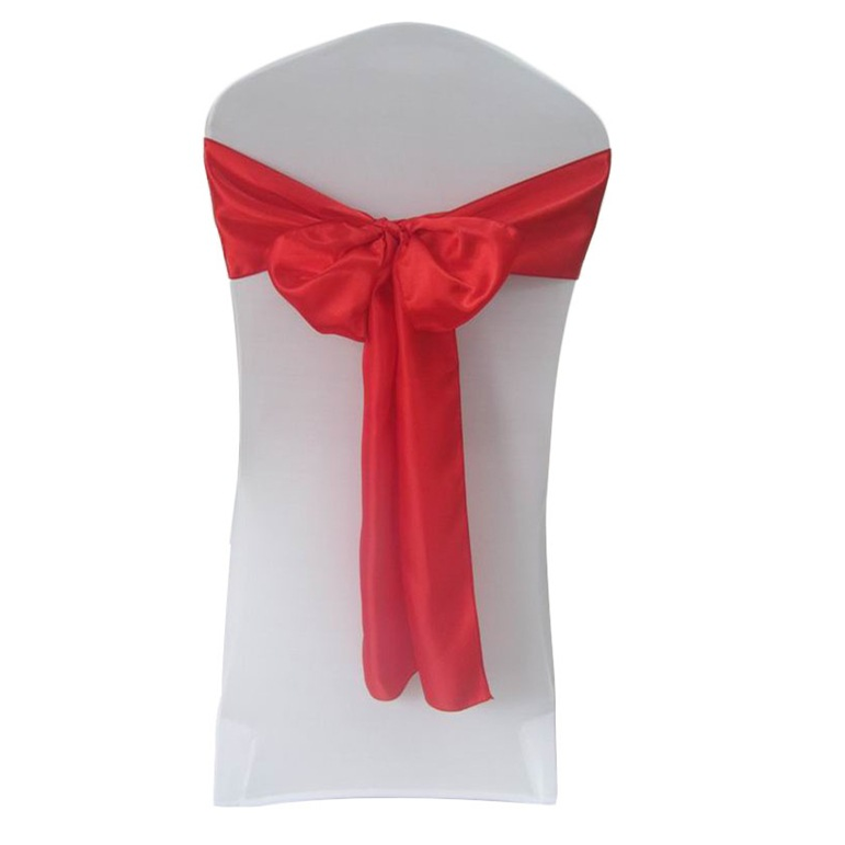 Shiny Red Satin Sashes For Decorative Lace Chair Hoods