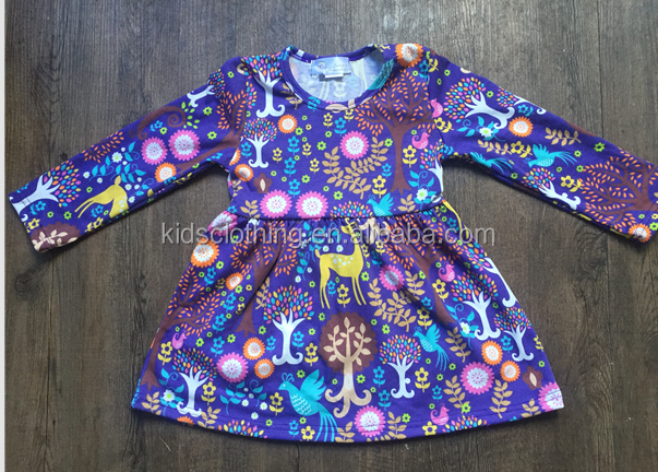 Wholesale long sleeve kids frock designs knit cotton tunic dress