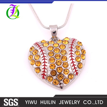 A500165 Yiwu Huilin Jewelry new fashion bling bling heart crystal pendant alloy long chain necklace designs bridal