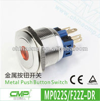 MP022S/F11Z-D 22mm Flat Round Latching Push Button Switches With Dot LED Illuminated