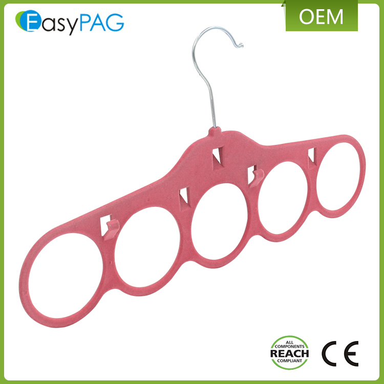 EasyPAG wholesale 3 color non-slip plastic flocked velvet clothes scarf hanger with cascading hook