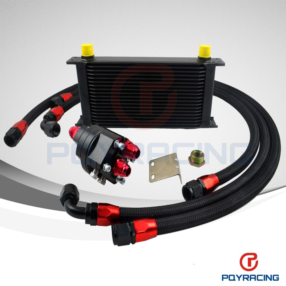 BLACK UNIVERSAL 19 ROWS ENGINE OIL COOLER+ALUMINUM OIL FILTER/COOLER RELOCATION KIT+3PCS BLACK NYLON BRAIDED HOSE LINE+ADAPTER