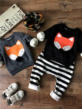 Cute fox design sweatshirt and stripe pant kids clothing sets child