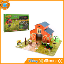 Kids plastic diy farm house toy play set with farmer and diecast pull back tractor