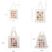 Christmas Cute Animal Pattern Custom Printed Cotton Tote Bags For Gift