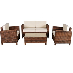 Indoor Outdoor  furniture 4pcs Steel frame Brown wicker patio detachable sectional rattan sofa sets