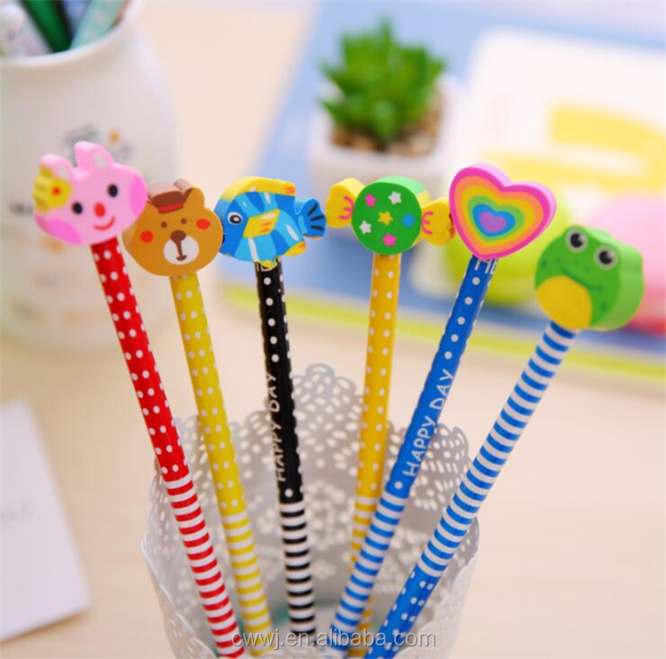Children Creative Wooden HB Pencil With Lovely animals Rubber Tips