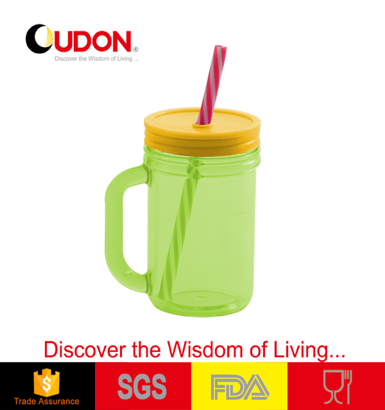 0.45L cutom clear plastic mug with straw plastic cup