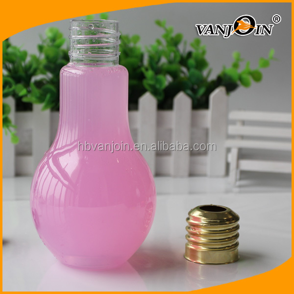 500ml Pet Plastic Wide Bore Bulb Shape Boba Tea Bottles