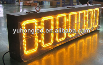 8:88:88:88 ultra brightness yellow outdoor 7 segment sports timer display