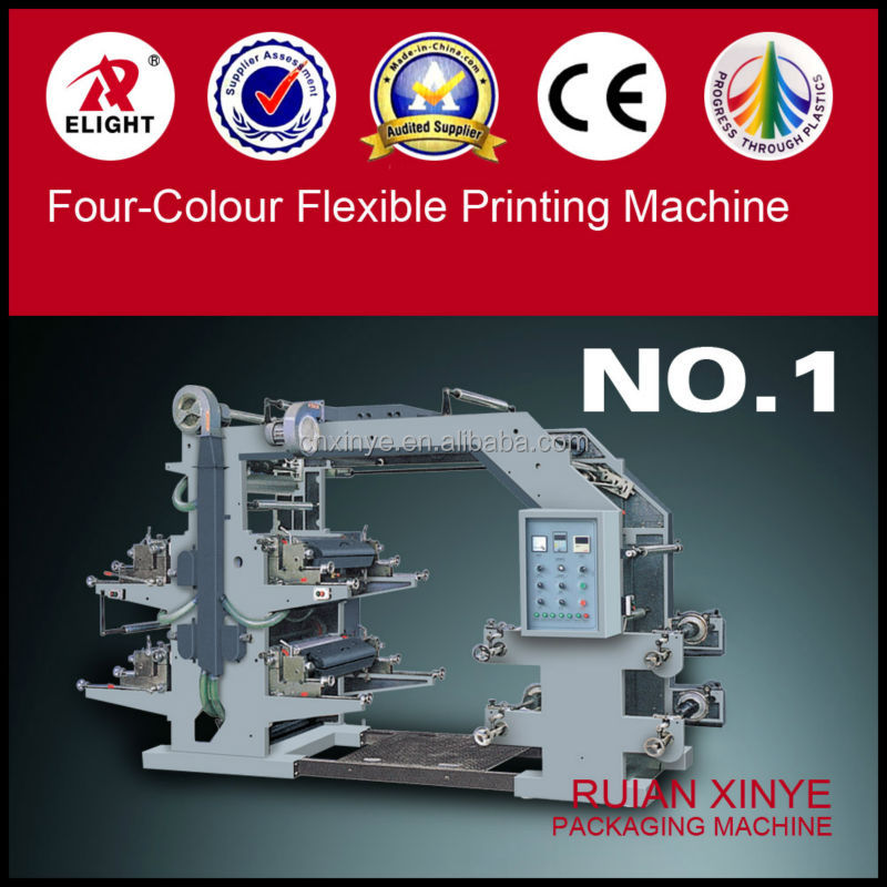 Full Automatic Plastic Film Four Color Flexible Printing Machine
