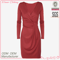 Low Price high quality long sleeves knittng latest dress designs for women