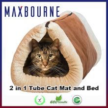 2 in 1 Tube Cat Mat and Bed Winter Soft Felt Cat Bed