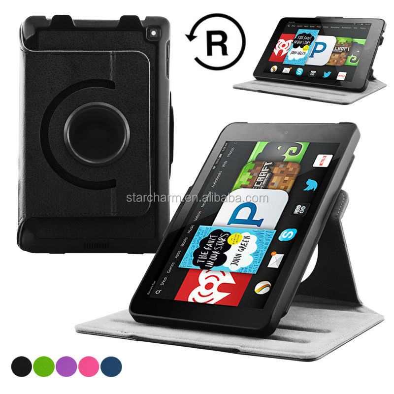 360 Degree Rotating Leather Stand Leather Case for Amazon file HD6