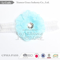 High quality baby blue hair accessories cheap bow knit winter headband with flower