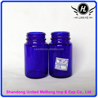 Hot sale 75ml blue round glass bottle for pills
