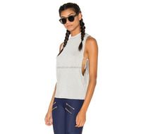 Fashion Summer Basic Workout 100% Cotton Tank Tops Ribbed A-shirt for Women