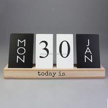Wooden Perpetual Black & White Calendar Block