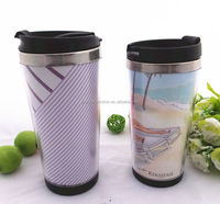 Food safety office stainless steel cup with handle plastic drinking water bottle