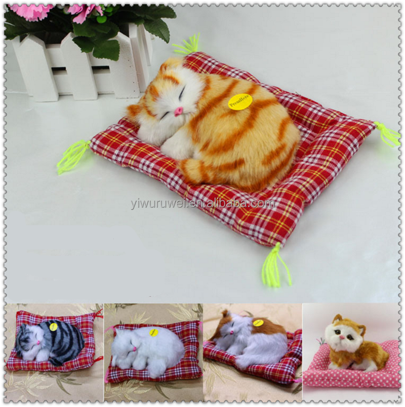 Best design animal plush toys funny synthetic fur breathing sleeping cat toy with sound